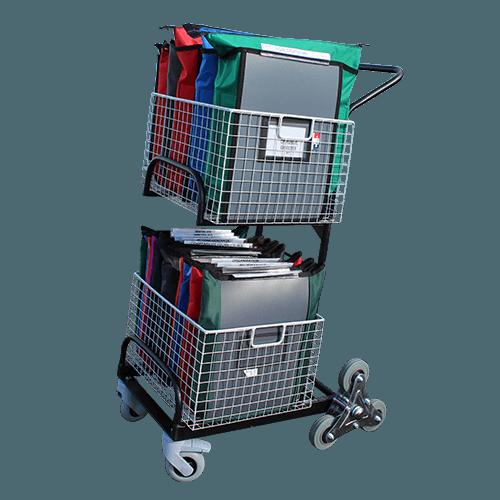 Chariot de distribution 2 corbeilles roues arrière en étoiles - 6329