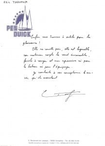 Lettre Tabarly Sacoche Outils 1988