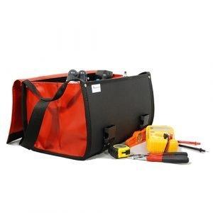Sac CO2 Rouge ouvert avec outils