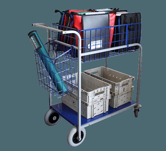 Chariot distribution grande capacité 1 corbeille + 1 plateau - 5850 MT5C1P
