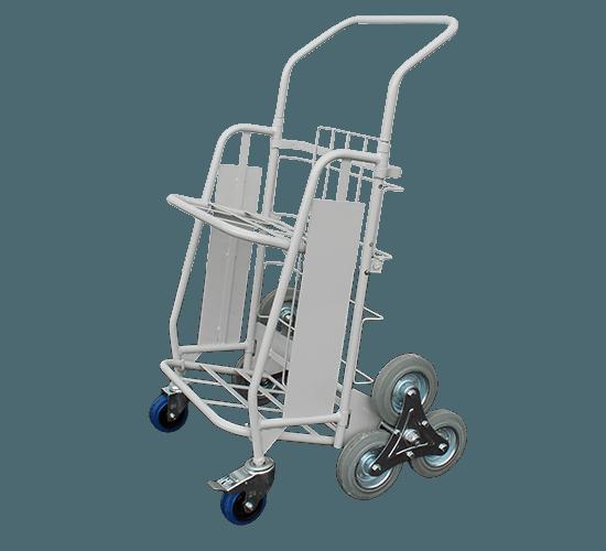 Chariot diable pliant double tablette roues arrières en étoiles - 6326