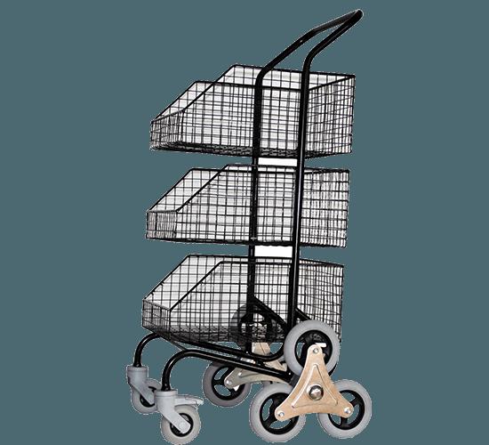 Chariot distribution avec 3 corbeilles roues arrière en étoiles - 6333
