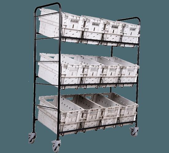 Chariot pour 12 bacs postaux (3x4) 4 roulettes avec freins - 6336