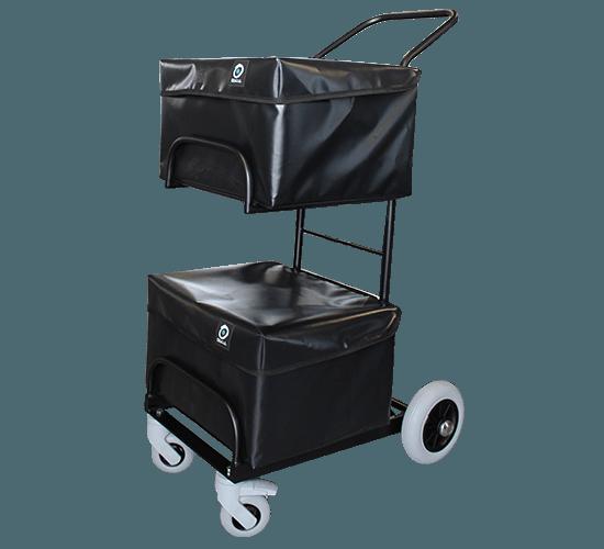 Chariot de distribution compact 2 corbeilles avec housses
