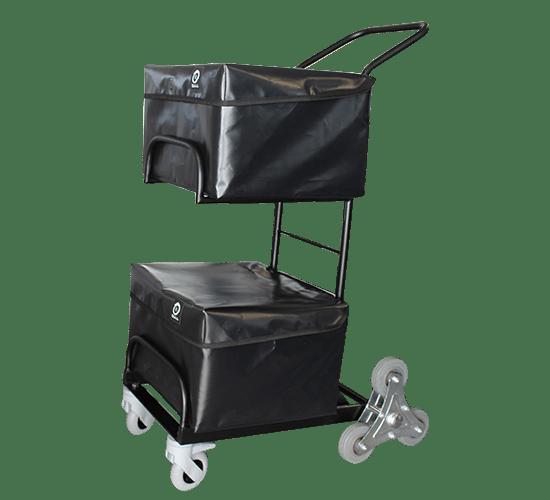 Chariot de distribution 2 corbeilles, housses, roues arrière en étoiles - 6804